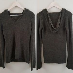 BCBGMaxAzria Women's Olive Green Hoodie Sweater